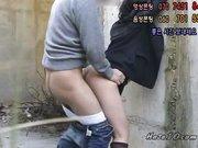 Koreanische Teen Fotze lässt sich drausen heftig ficken